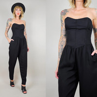 Black 80's STRAPLESS Minimalist jumpsuit Sweetheart Bustier POCKET romper Pantsuit xs / small