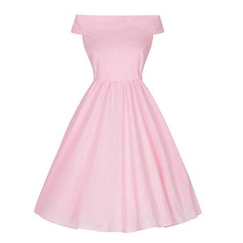 Chicloth Pink Off the Shoulder Sleeveless A-Line Vintage Dress