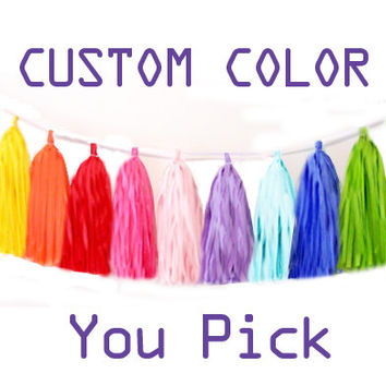 Tassel garland, tissue tassel garland, tissue garland CUSTOM Colors for your Wedding, Birthday or Shower