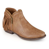Journee Collection Women's 'Fringe' Almond Toe Fringed Booties | Overstock.com Shopping - The Best Deals on Booties