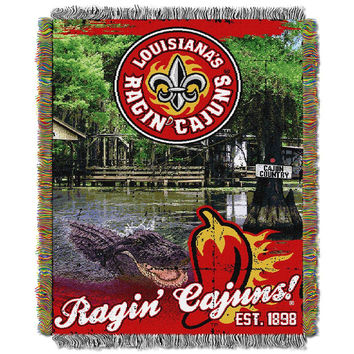 Louisiana Lafayette Ragin Cajuns NCAA Woven Tapestry Throw (Home Field Advantage) (48x60)