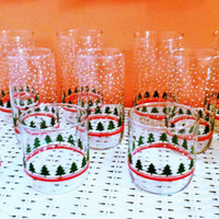 12 Libbey Christmas Tumblers Libbey Rock Sharpe Winterland Glasses Holiday Glass Set Libbey Christmas Glasses Libbey LRS61 Christmas Glasses
