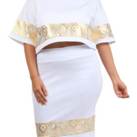 Plus Size Foil Diamond Print Boxy Crop Top White Skirt Set, Plus Size Clothing, Club Wear, Dresses, Tops, Sexy Trendy Plus Size Women Clothes