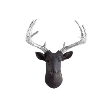 The Mini Virginia | Deer Head | Faux Taxidermy | Black  + Silver Glitter Antlers Resin
