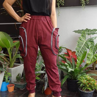 New Deisgn - Maroon - Harem Pants - Cargo Pockets , Unisex Trousers, in Cotton Jersey.