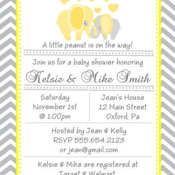 10 Yellow Elephant Baby Shower Invitations