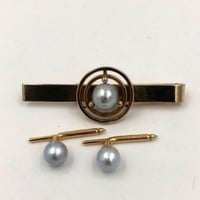 Authentic Ming's 14k Yellow Gold Blue Pearl Tie Bar Clip Buttons