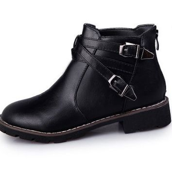 Womens Stylish Strapped Buckle Ankle Boots