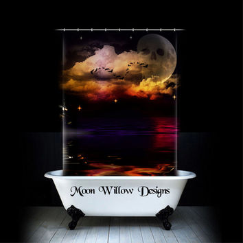 "Fabric Shower Curtain "" Pirate Ship"" Ocean Moon  Fantasy  Shower Curtain  by Moon Willow Designs"