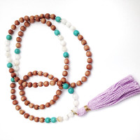 The Good Fortune Mala Tassel Necklace | Rosewood, Turquoise Magnesite, Multi Quartz, Purple Tassel Necklace | 108 mala bead necklace | boho