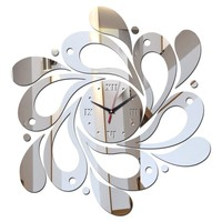 3D Acrylic Mirror Flower Pattern DIY Wall Clock