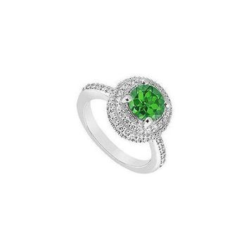 DCCKU7Q Emerald and Diamond Engagement Ring : 14K White Gold - 1.25 CT TGW