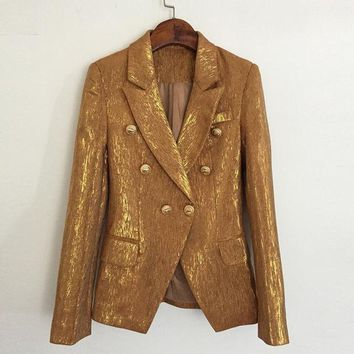 High Quality Autumn Blazer Women Long Sleeve Slim Double Breasted jacket Woman Gold Buttons Ladies Blazers Suit Coat