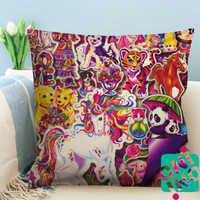 90's Lisa Frank Collage Zippered Pillow Case, Cushion Case, Pillow case