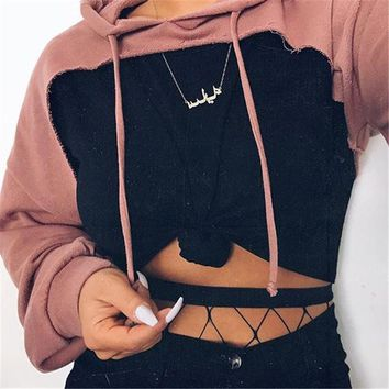 Drop-shoulder front cut out hoodies sweatshirt 2017 Women's fashion pink hoodie with hooded Punk rock pullovers female autumn