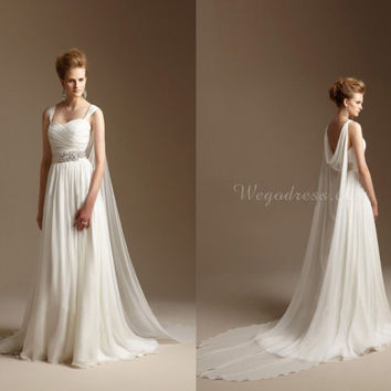 Grecian Style Wedding Dress with Watteau Train Long Chiffon Summer Beach Bridal Dress Greek Wedding Gowns