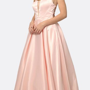 Long Shiny Satin A-line Prom Gown Blush With Pockets