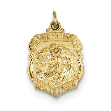 24k Gold-plated Sterling Silver Saint Michael Badge Medal QC5650