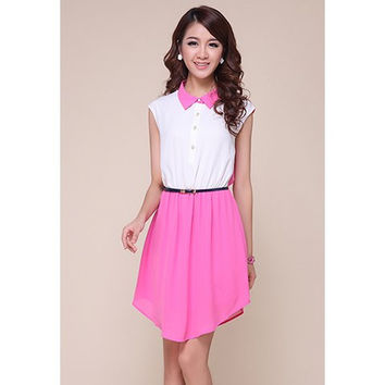 White and Pink Vintage Polo Neck Sleeveless Chiffon Dress