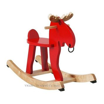 Wooden Rocking Horse Chair for Toddlers, Cute Red White Giraffe Rocker, Kids Rocking Animals For Nursery and Playroom