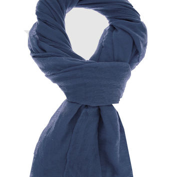 Wool Cashmere Lightweight Tissue Scarf Shawl Navy Blue Winter Holiday Gifts For Her Accessories