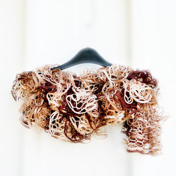 Spring fashion ruffle scarf earth tone natural by Mashacrochet