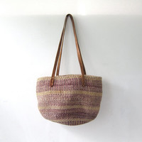 vintage woven market bag. farmers bag. jute shoulder bag.