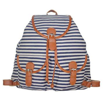 navy striped canvas backpack campus school bookbag  number 1