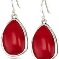 Lucky Brand Silver-Tone Coral Set Stone Drop Earrings