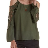 Olive Crochet Trim Cold Shoulder Top by Charlotte Russe