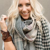London Fog Plaid & Houndstooth Wrap Scarf - Gray