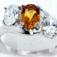 2 Carat Genuine Citrine With Zirconia Ring .925 Sterling Silver Rhodium Finish White Gold Quality