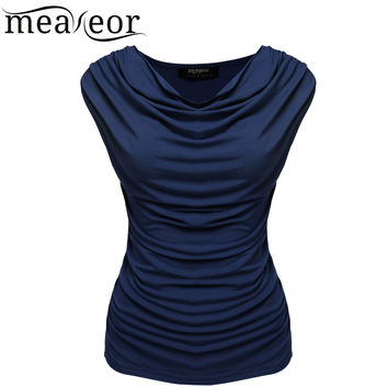 Meaneor Women Cowl Neck t-shirt tops women Sleeveless t-shiirt tops Ruched Slim t-shirt tops summer 2016 S-XL