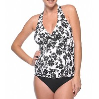 Prego Maternity Moon Shadow Halter Tankini Swimsuit Set