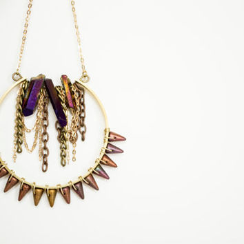 Bohemian Titanium Purple Crystal Stones - Raw Brass - Dangle Chains & Spikes