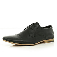 River Island MensBlack round toe formal lace up shoes