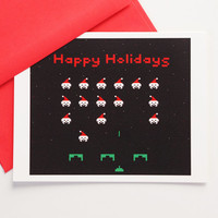 Happy Holidays cards 8 Bit Santas, set of 10 videogame christmas card set