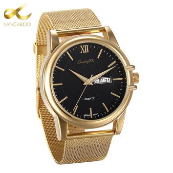 Lancardo New Top Luxury Watch Men Brand Men's Watches Stainless Steel Mesh Band Quartz Wristwatch Fashion Business Gold Watch