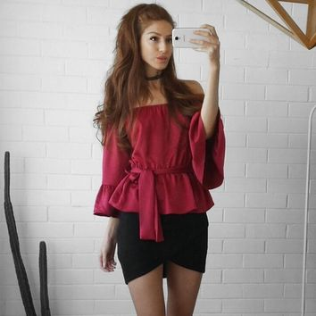 Fashion Off Shoulder Middle Sleeve Solid Color Bandage Chiffon Shirt Women Tops