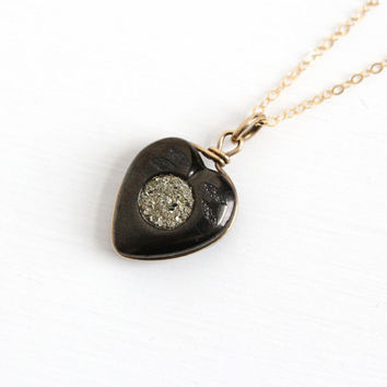 Antique Victorian Jet & Pyrite Heart Pendant - Vintage Late 1800s Era Fob Necklace Gold Filled Druzy Mourning Crystal Cluster Rare Jewelry