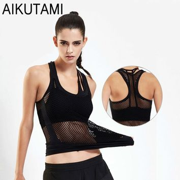 Gym Clothing for Women Sport Shirt Yoga Tops Sexy Hollow Mesh Sports Workout Tank Top Jersey Yoga Clothes Ladies Sportswear