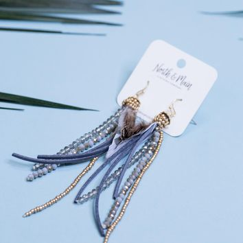 Feather and Tassel Earrings, Grey