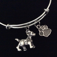 3D Puppy Dog Charm on a Silver Expandable Adjustable Bangle Bracelet Meaningful Dog Lover Gift