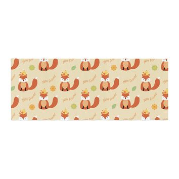 "Cristina Bianco Design ""Fox - New Friends - Pattern"" Orange Yellow Illustration Bed Runner"