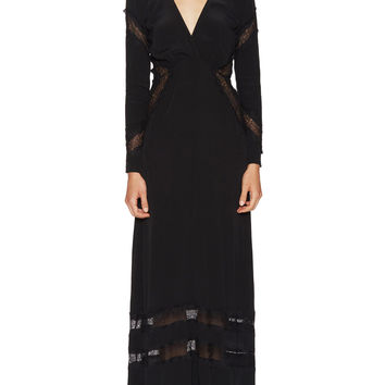 For Love and Lemons Women's Goddess Lace Trim Maxi Dress - Black - Size XS