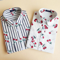 19 Colors Floral Long Sleeve Vintage Blouse Cherry Turn Down Collar Shirt Blusas Feminino Ladies Blouses Womens Tops Stylish
