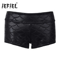 High Quality 2017 Hot Shorts for Women's Women Girls Shiny Mermaid Fish Scale Print Stretchy Shorts Bodycon Mini Shorts