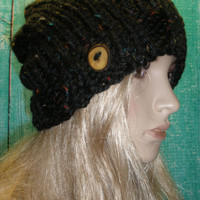 Vegan Slouchy Beanie Hat Winter Hand Knit Black Multicolor Tweed Woodsy With A Wood Button