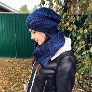 FURTALK Winter Women Knitted Beanie Hat for Girls Wool Slouchy Hat and Scarf Set Female Infinity Scarves