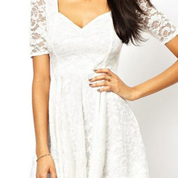 White Square Lace Paneled Short Sleeve High Waist Dress